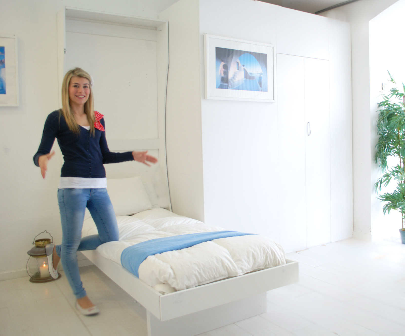 Letto a parete singolo appendiabiti bed vivilospazio mobili trasformabili - Letto a parete a scomparsa ...