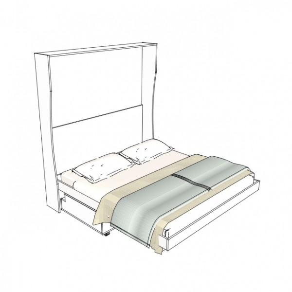 l'inserimento del divano panca contenitore del letto a scomparsa a parete