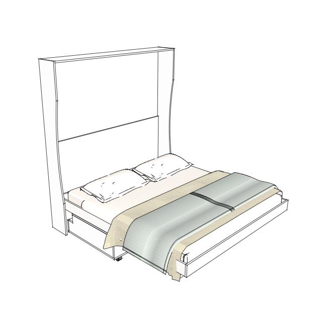 Letto a scomparsa da una piazza e mezza appendiabiti bed - Parete con letto a scomparsa ...