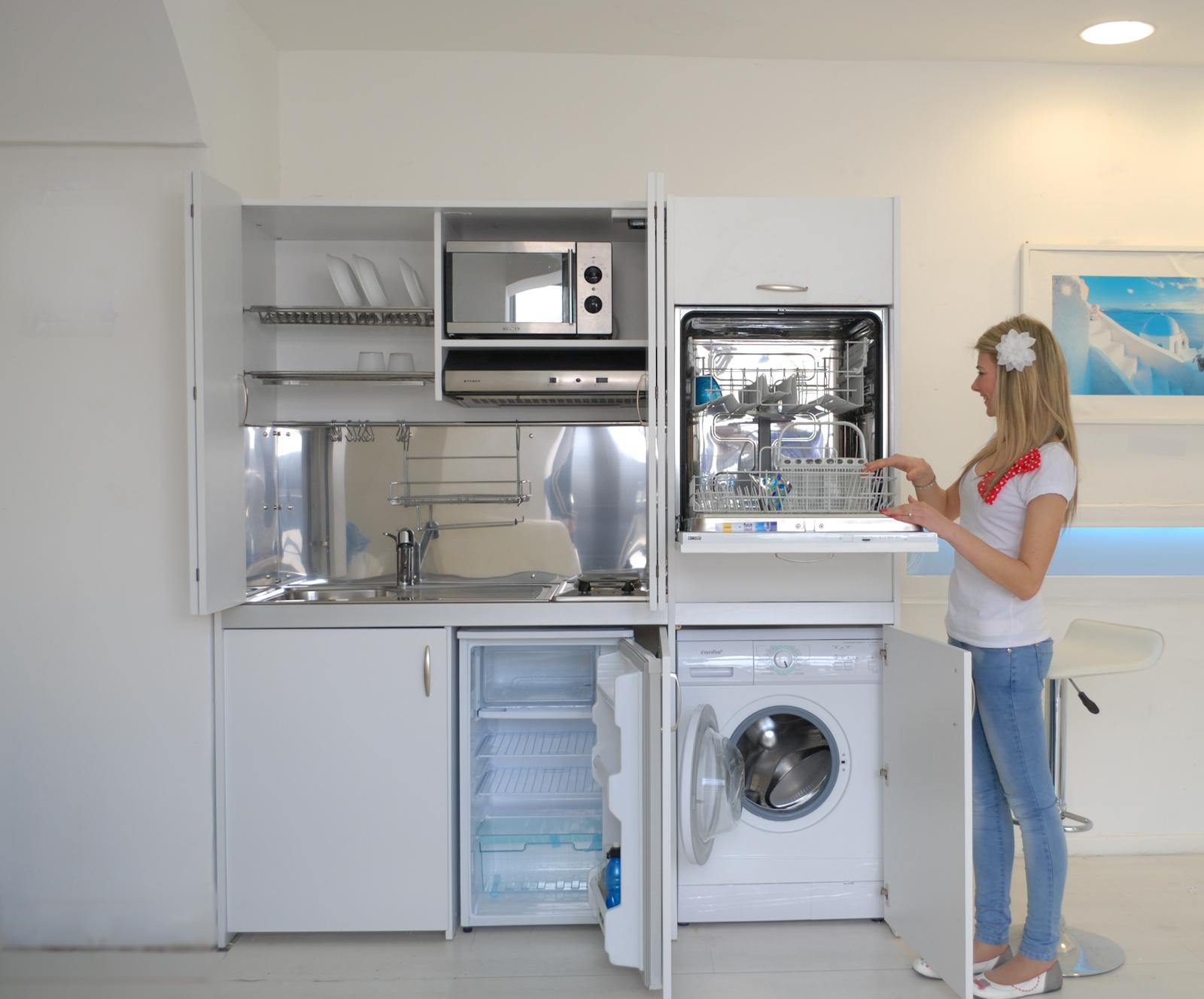 Monoblocco cucine salvaspazio compact con serranda - Cucine con lavatrice ...