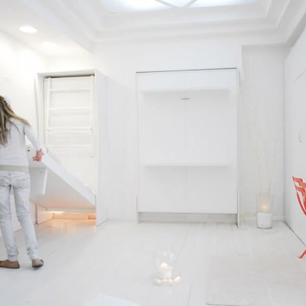 apertura e chiusura dell'armadio letto leggera e immediata