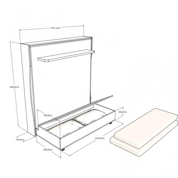 letto salvaspazio con contenitore