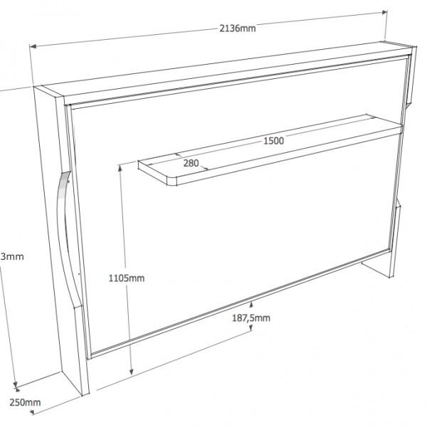 grafico della consolle bed a parete da 140cm chiusa