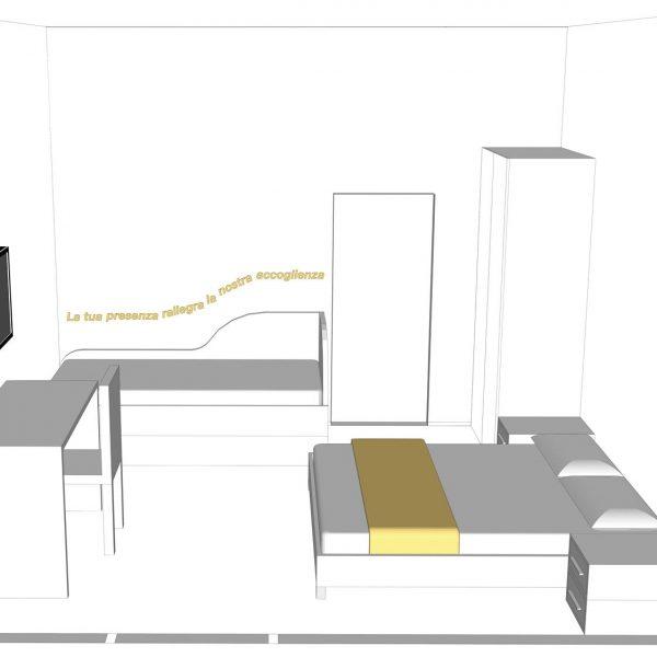 Progetto Camera di Albergo salvaspazio