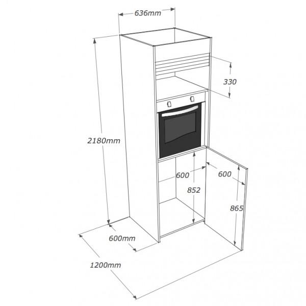 colonna cucina autoportante con forno a sospensione
