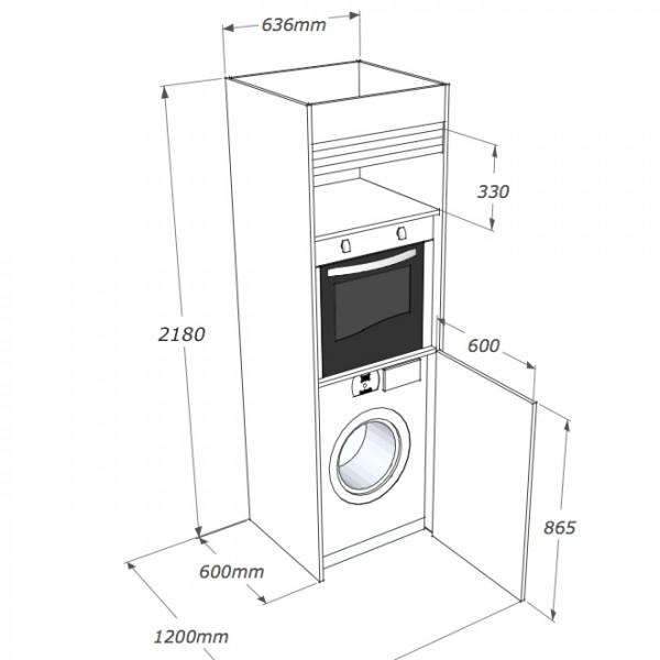 in soli 60cm di larghezza la lavatrice ed il forno