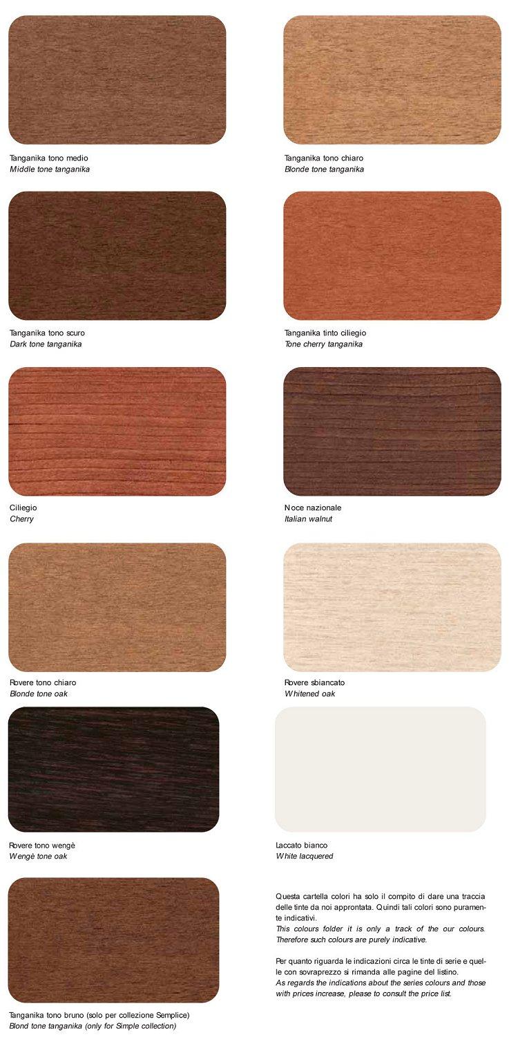 le tabelle colori dei nostri mobili salvaspazio