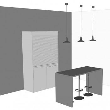 cucina armadio chiusa con tavolo consolle, contrasto colore