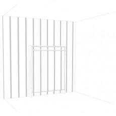 letto matrimoniale contestualizzato alla parete con le strisce adesive applicate in verticale sull'intera larghezza ed altezza del muro, vista del letto mimetizzato a scomparsa