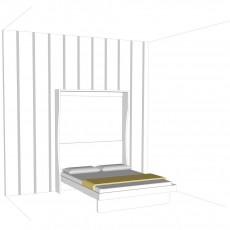 letto matrimoniale uniformato alla parete con l'inserimento delle strisce adesive fornite gratis, applicabili in verticale su tutta la parete e sul letto