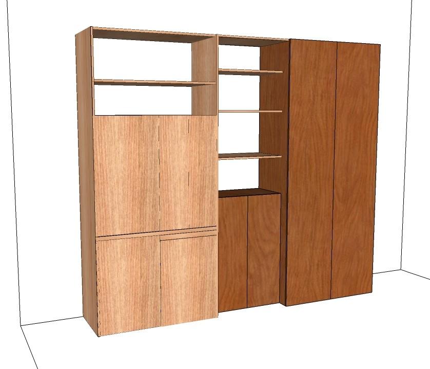 vista dell'armadio cucina in fase di elaborazione con la vista dei ripiani della stessa finitura del monoblocco cucina e dei tuoi mobili, vista chiusa dell'insieme vista dell'armadio cucina in fase di elaborazione con la vista dei ripiani della stessa finitura del monoblocco cucina e dei tuoi mobili, vista chiusa dell'insieme