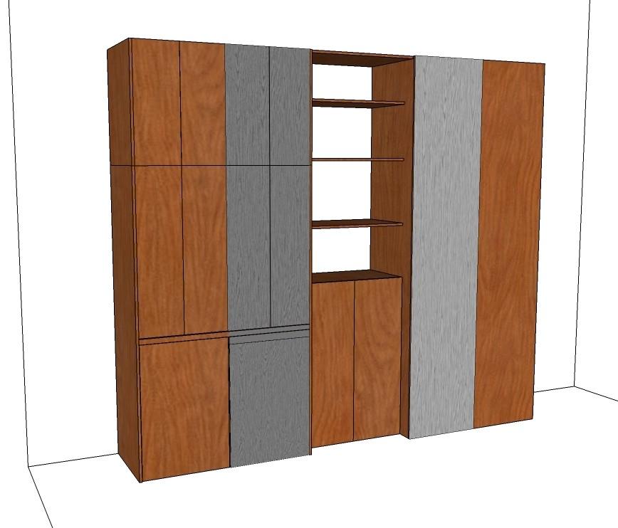 rafforziamo l'estetica con la verniciatura di due semplici righe verticali che come mostriamo le puoi verniciare ai due lati della composizione nella tonalità che più ti piace, noi abbiamo inserito il grigio in omaggio agli uomini di casa e perchè è neutro e raffinato. vista dell'intera composizione chiusa