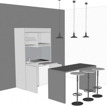 cucina armadio completa del tavolo consolle, contrasto colore