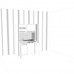 contestualizzazione alla parete con wall stickers verticali, vista cucina armadio aperta