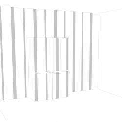 contestualizzazione alla parete con wall stickers verticali, vista cucina armadio chiusa