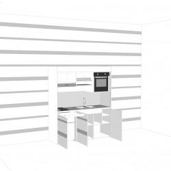 contestualizzazione alla parete con wall stickers, vista cucina armadio aperta