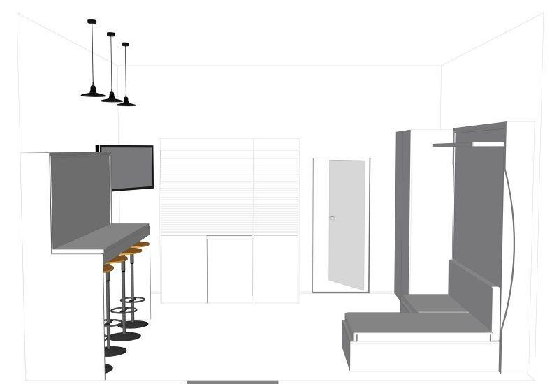 Progetto arredamento monolocale accessoriato, arredato per tre persone, pronto per ricevere ospiti