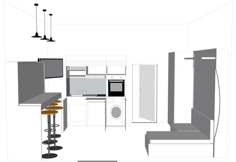 Vista della cucina armadio compact 186 aperta.