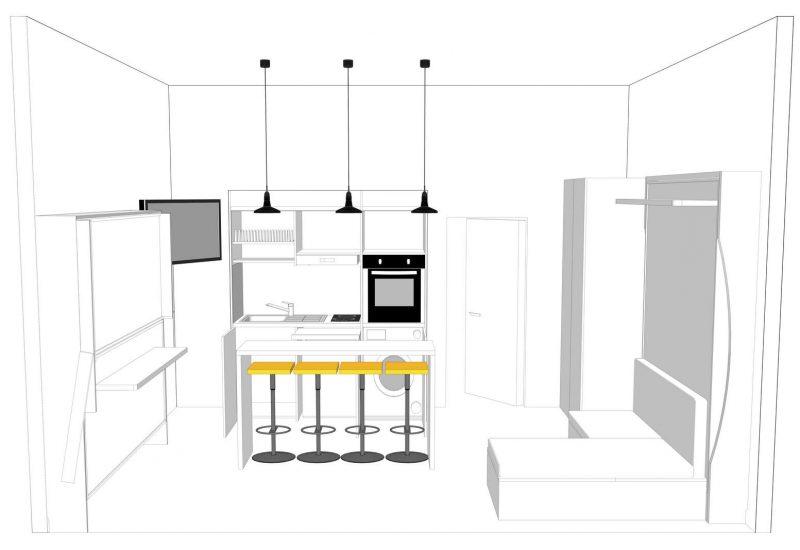 progetto monolocale 15mtq salvaspazio vista della cucina armadio chiusa con i letti a parete castello e matrimoniale della vista chiusa, vista del divano e chaise long