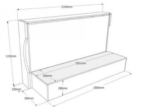 letto a scomparsa con contenitore o divano