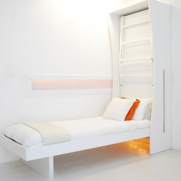 dettaglio del letto inferiore del letto a parete a castello