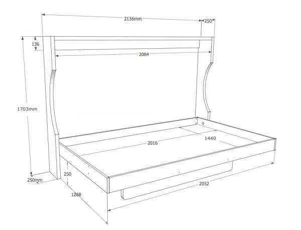grafico della consolle bed a parete da 140cm aperta