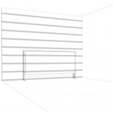 l'elemento orizzontale perfettamente contestualizzato, che sparisce nella parete, decorata con le strisce adesive, annullando così la percezione della presenza del letto