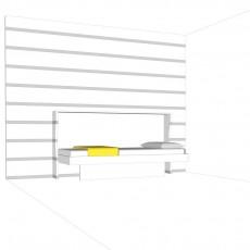 letto singolo a scomparsa, qui in vista letto aperto, integrato nella parete d'appoggio decorata con le strisce adesive fornite gratis