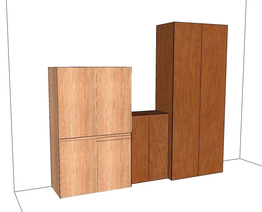 cucina armadio compact nella finitura legno naturale con trattato affiancata ai tuoi arredi di legno ,vista degli elementi tutti chiusi, nella tinta diversa che uniformiamo sui prossimi grafici, insieme alla dinamica dell'altezza equiparata con l'aggiunta di semplici ripiani