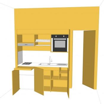 cucina armadio aperta, tono su tono della parete