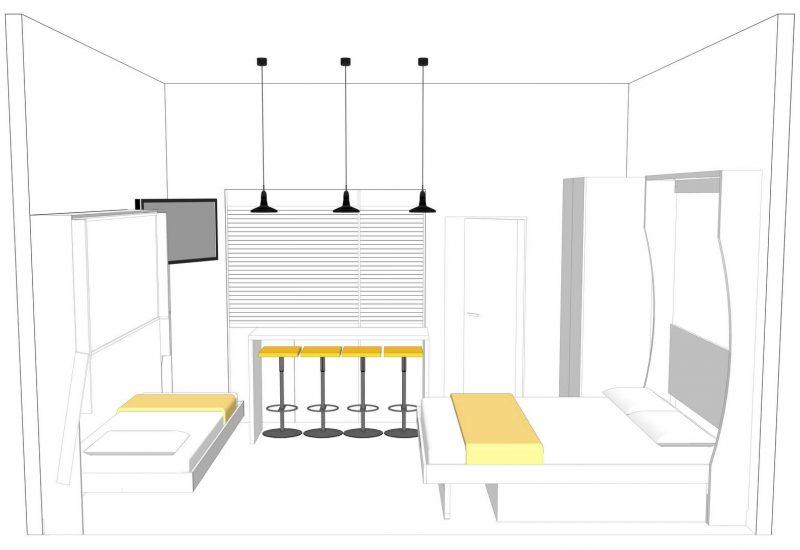 vista dell'armadio cucina chiusa con il letto singolo inferiore del letto a castello a parete aperto insieme al letto matrimoniale a parete che puoi lasciare chiaramente anche chiuso