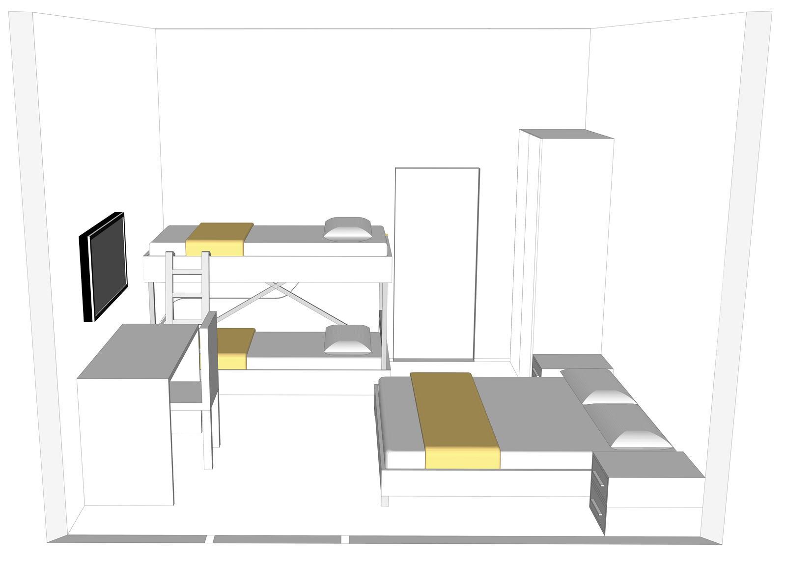 Camera doppia trasformabile in tripla e quadrupla