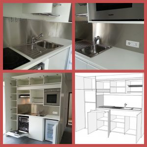 Cucina compatta da 184 cm, cucina per piccoli ambienti ...